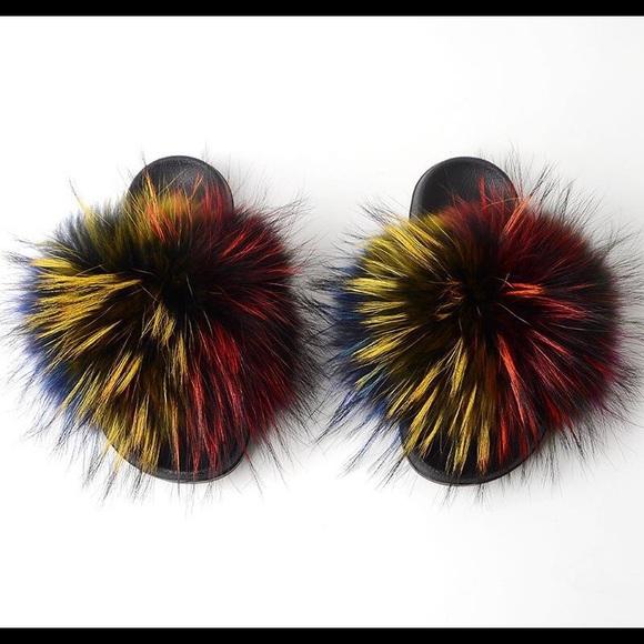 Shoes - Fox Fur Slides